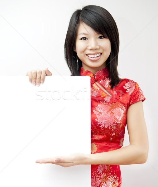 オリエンタル 少女 笑みを浮かべて グレー ストックフォト © szefei