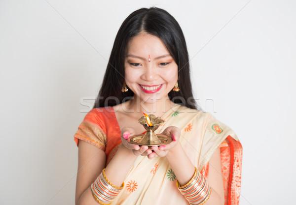 индийской Дивали фестиваля портрет молодые Сток-фото © szefei