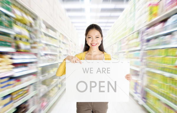 We are open sign board in department store Stock photo © szefei