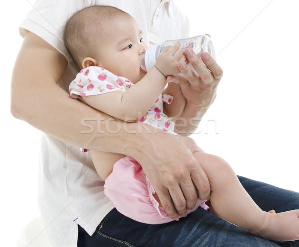Daddy Flasche Ernährung Baby asian neue Stock foto © szefei