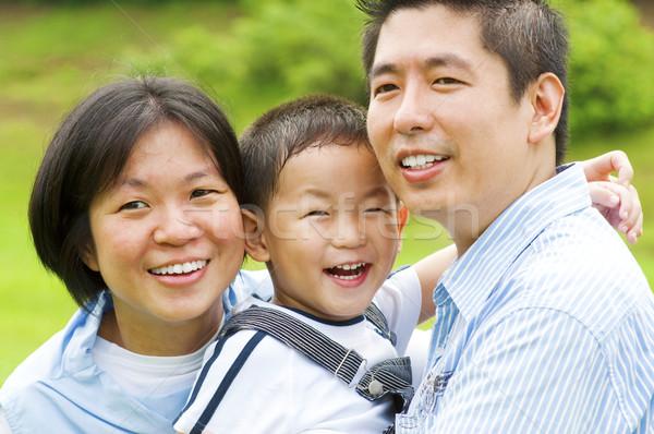 Asiático feliz família ao ar livre mulher natureza Foto stock © szefei