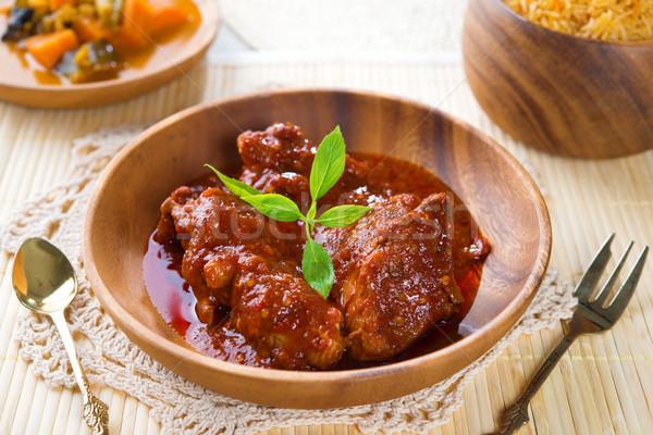 Stock fotó: Indiai · tyúk · rizs · curry · friss · főtt