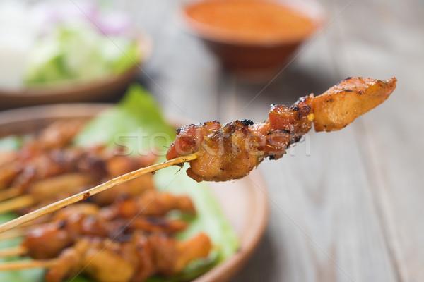 Stock fotó: ázsiai · konyha · tyúk · közelkép · finom · fából · készült · étkezőasztal