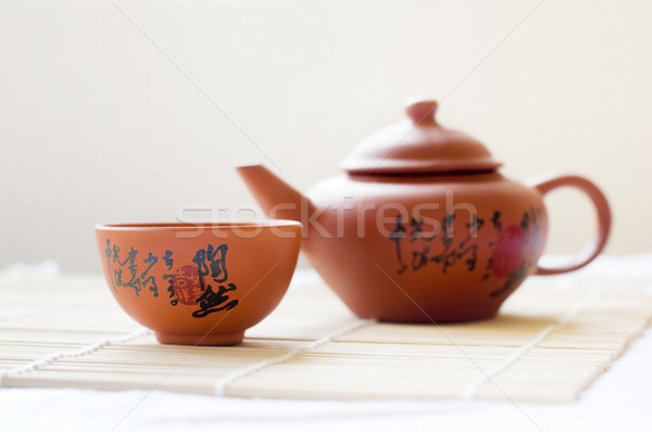Demlik çay fincanı Çin seramik kelime Stok fotoğraf © szefei