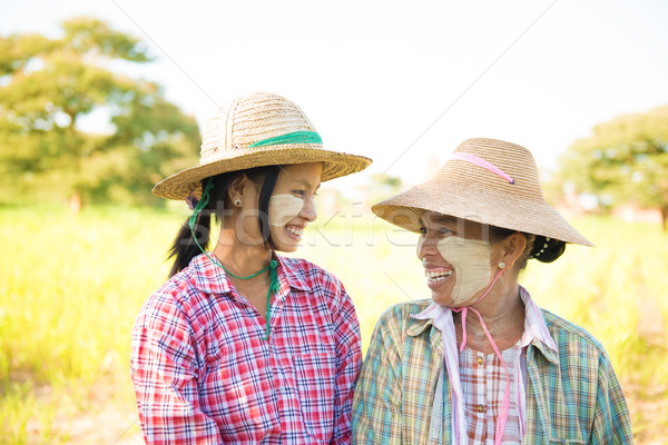 Traditionnel Myanmar Homme portrait agriculteur Photo stock © szefei