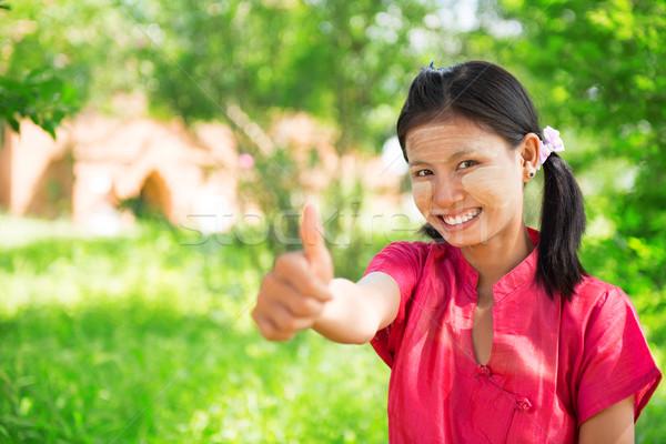 Мьянма девушки большой палец руки вверх портрет счастливым Сток-фото © szefei