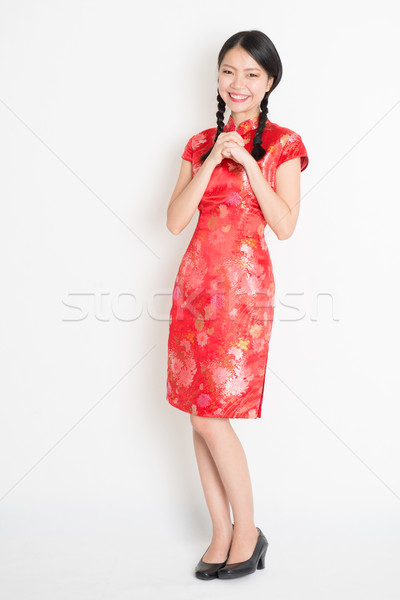 Asian chinese girl blessing Stock photo © szefei