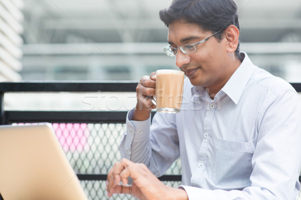 Indian businessman tea break Stock photo © szefei