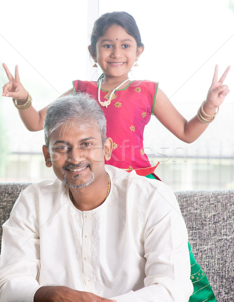 Stock photo: Cute girl and father