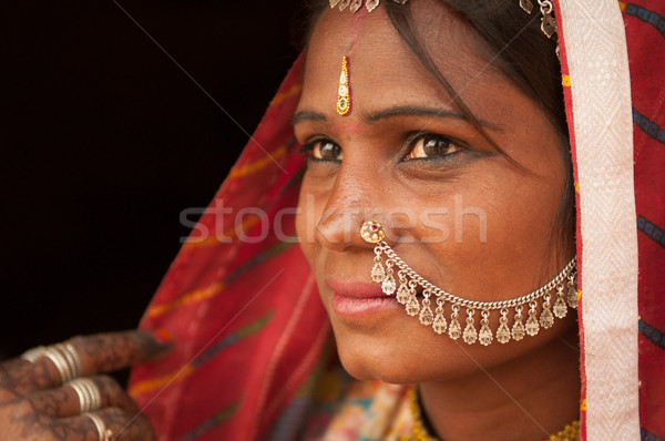 Portrait of traditional Indian female in saree Stock photo © szefei