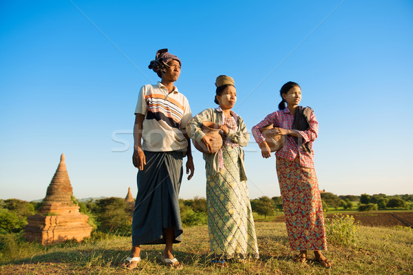 Group Asian Myanmar traditional farmers Stock photo © szefei