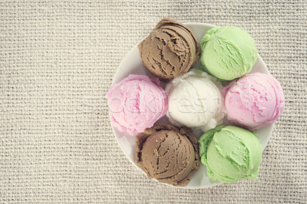 Top view assorted ice cream on plate. Stock photo © szefei