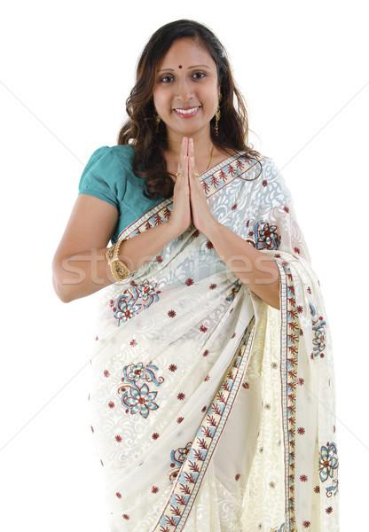 Stockfoto: Indian · vrouw · groet · volwassen · pose · geïsoleerd