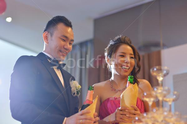Stockfoto: Champagne · gelukkig · asian · chinese