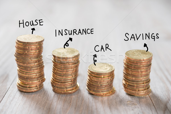 Stack coins with label Stock photo © szefei