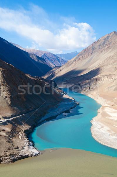 Rivieren noord-india hemel wolken landschap Blauw Stockfoto © szefei
