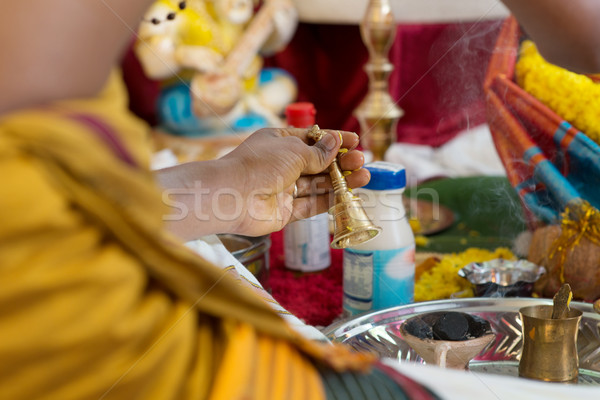 Traditional Indian Hindus blessing ceremony.  Stock photo © szefei