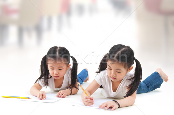 Dibujo pequeño Asia ninas casa feliz Foto stock © szefei