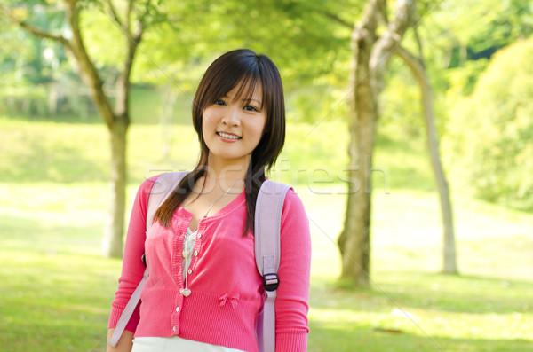 азиатских взрослый студент Постоянный Открытый парка Сток-фото © szefei