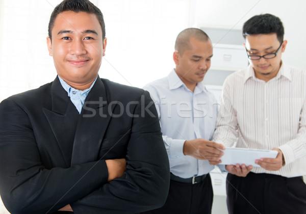 юго-восток азиатских деловых людей служба заседание ноутбука Сток-фото © szefei