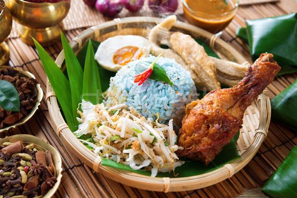 Nasi kerabu or nasi ulam Stock photo © szefei