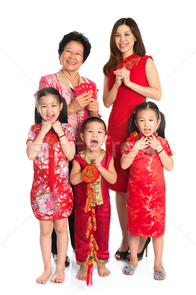 Asian Chinese family celebrate Chinese New Year Stock photo © szefei