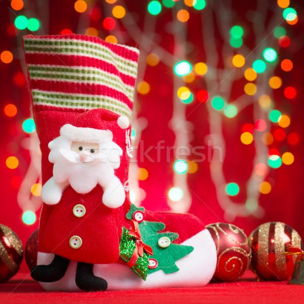 クリスマス ストッキング サンタクロース グリッター ストックフォト © szefei