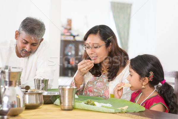 индийской семьи еды банан лист риса Сток-фото © szefei