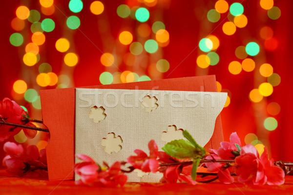 Kínai új év szalag fesztivál díszítések piros szilva Stock fotó © szefei