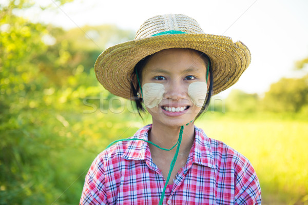 Traditional young Burmese female farmer Stock photo © szefei