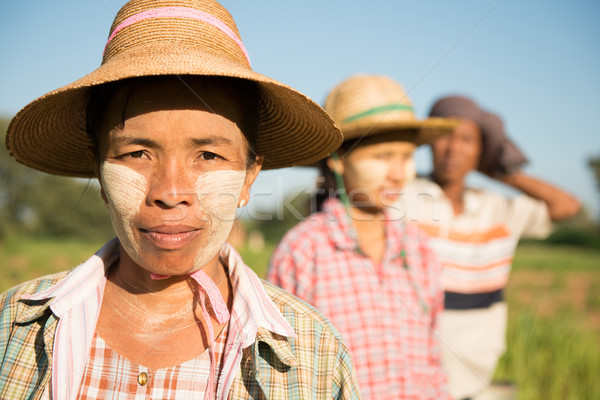 Traditional Asian Myanmar farmers portrait Stock photo © szefei