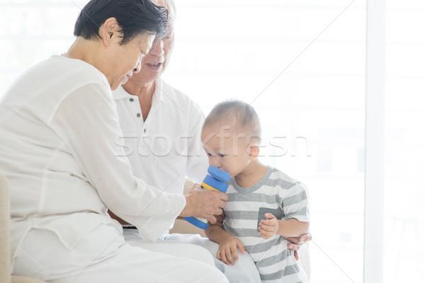 Dedesi torun portre Asya su Stok fotoğraf © szefei
