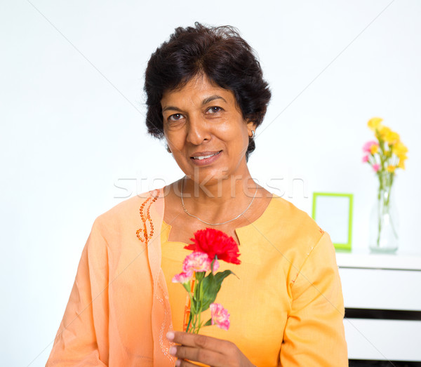 Mature Indian woman Stock photo © szefei
