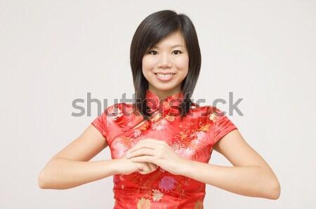 Chinois fille rouge joli asian Photo stock © szefei