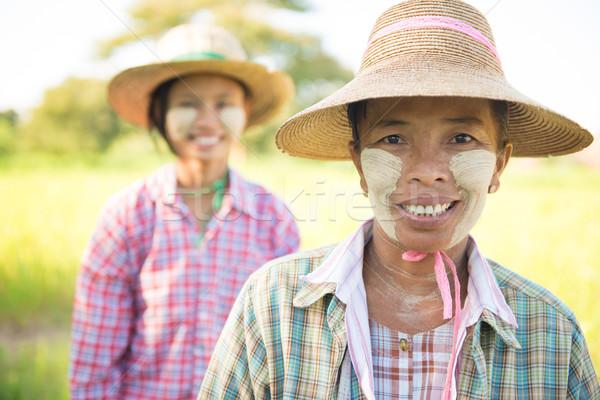 伝統的な ミャンマー 女性 農民 肖像 2 ストックフォト © szefei