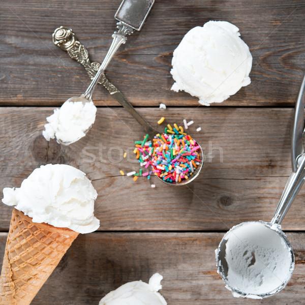 white ice cream wafer cone top view Stock photo © szefei