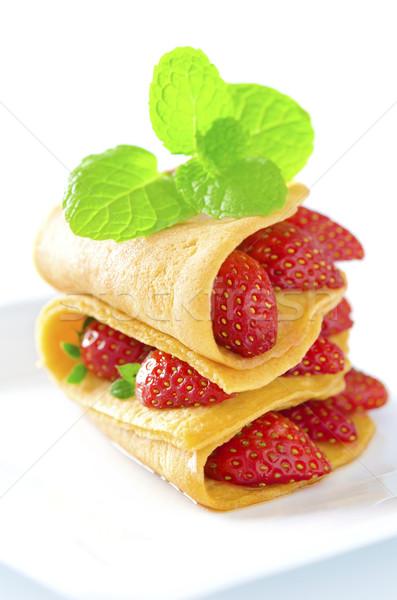 çilek krep nane yaprak gıda sağlık Stok fotoğraf © szefei