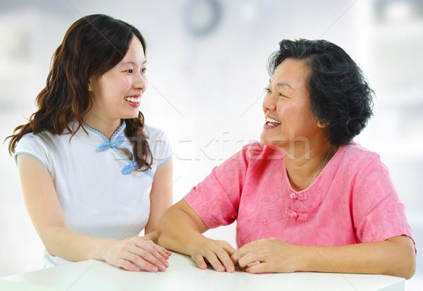 Foto stock: Familia · hablar · Asia · adulto · hija · conversación