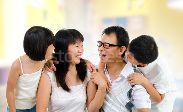 楽しい 話 幸せ アジア 家族 ストックフォト © szefei