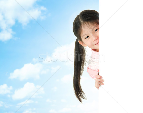Stock foto: Asian · Mädchen · versteckt · hinter · weiß · Karte