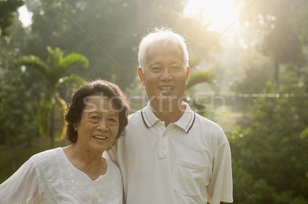 Asian seniors couple at park Stock photo © szefei