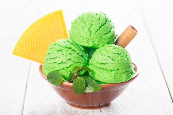 Pisztácia fagylalt merítőkanál tál fából készült textúra Stock fotó © szefei