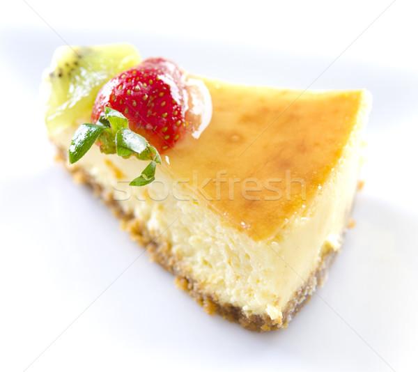 Passion fruit cheese cake slice Stock photo © szefei