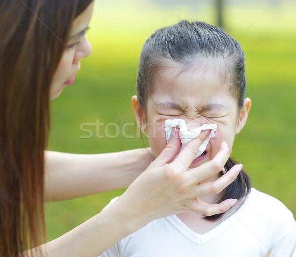 ázsiai lány influenza aranyos kicsi szabadtér Stock fotó © szefei