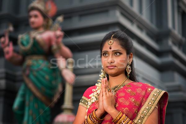 Giovani indian donna pregando bella tradizionale Foto d'archivio © szefei