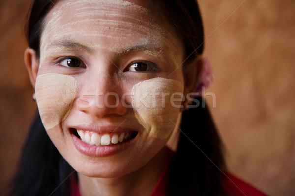 Мьянма девушки портрет красивой молодые традиционный Сток-фото © szefei
