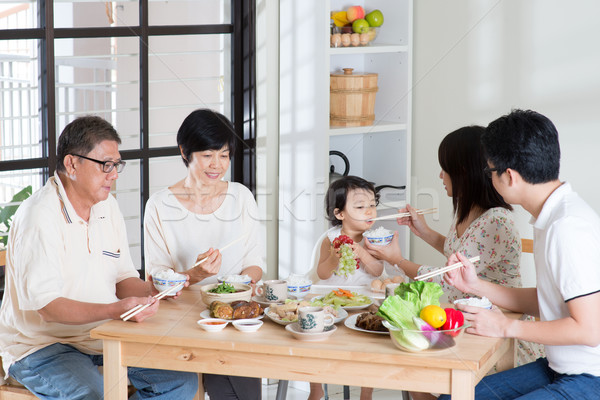 Family eating at home Stock photo © szefei