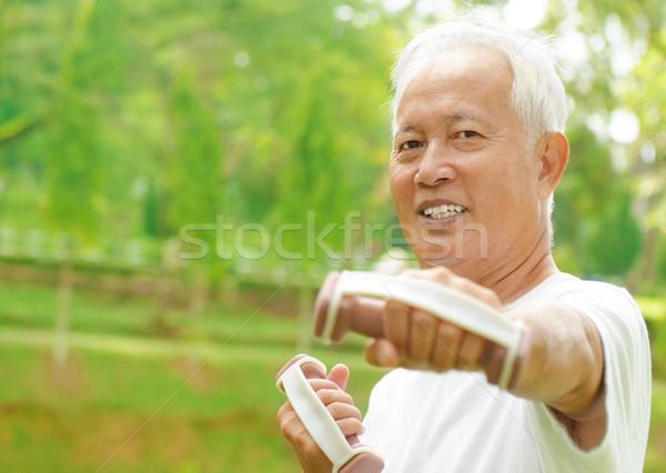 アジア シニア トレーニング 男 幸せ ストックフォト © szefei
