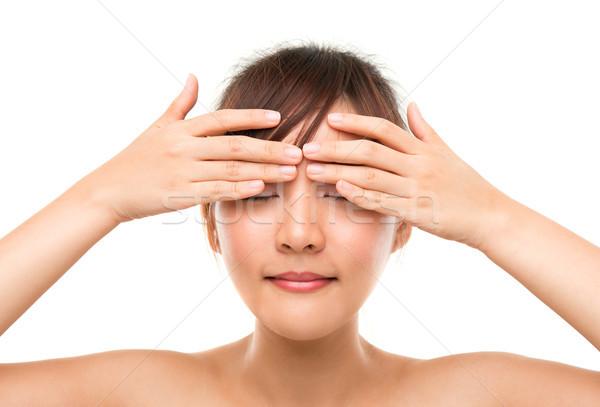 Stockfoto: Vrouw · oog · room · aanraken