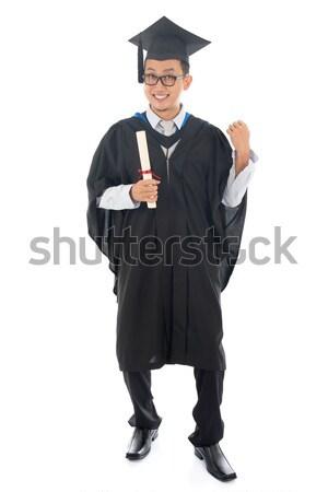 ázsiai egyetemi hallgató izgatott teljes alakos délkelet érettségi Stock fotó © szefei